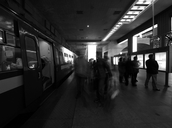Trainstation. Long(ish) exposure (B&W)